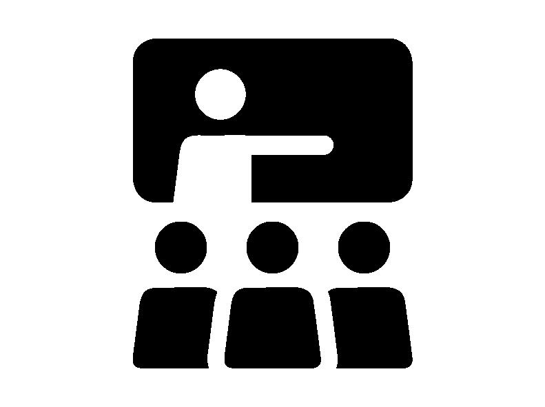 Schwarzes Icon mit einem Lehrer und drei Schülern