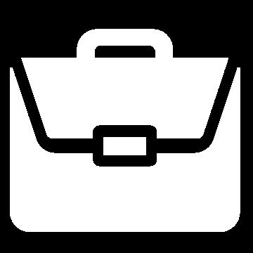 Weißes Icon mit einer Aktentasche
