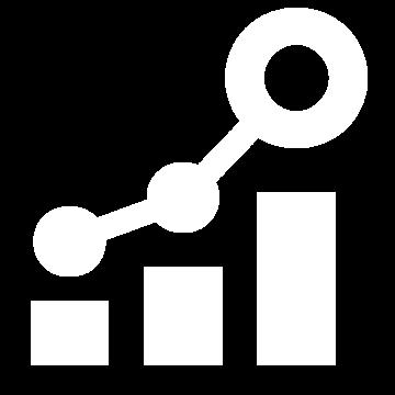 Weißes Icon mit einer steigenden Statistikkurve