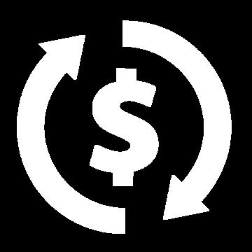 Weißes Icon bestehend aus einem Dollar- und Aktualisierungszeichen