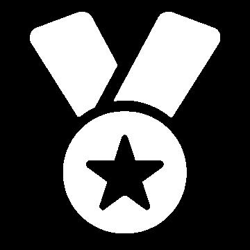 Weißes Icon mit einem Orden