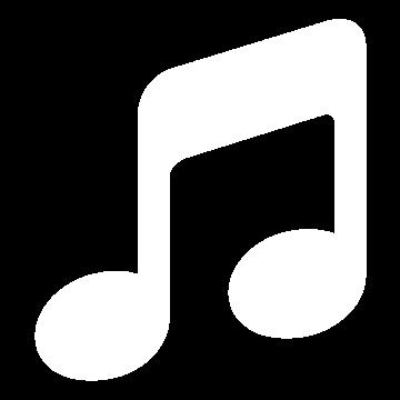 Weißes Icon mit einer Musiknote