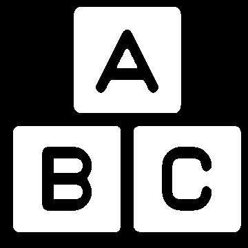 Weißes Icon mit den Buchstaben A, B und C