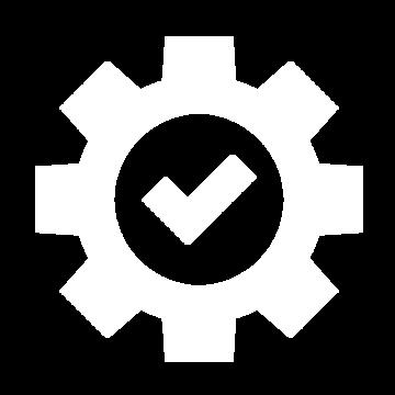 Weißes Icon mit einem Zahnrad und einem Häkchen