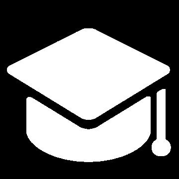 Weißes Icon mit einer Absolventenkappe