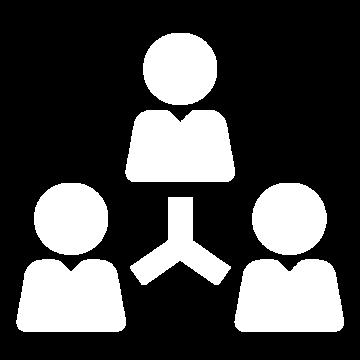 Weißes Icon bestehend aus drei Personen