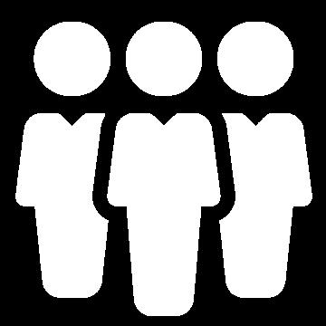 Weißes Icon mit drei Personen