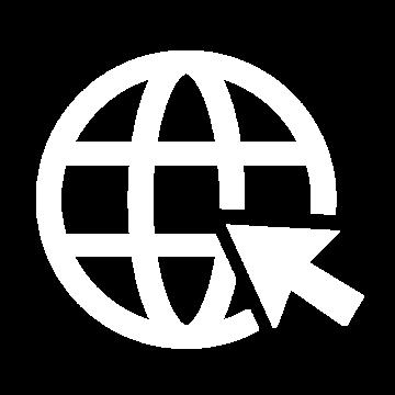 Weißes Icon bestehend aus einem Globus und einem Mauszeiger