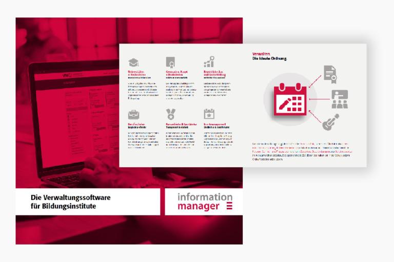 Infografik bestehend aus mehreren Icons zur Darstellung des Funktionsumfangs des Information Managers